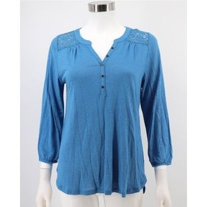 Lucky Brand Sheer Lace Shoulder Henley Shirt